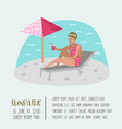 beach vacation poster banner woman sunbathing vector image vector image