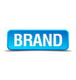 Brand blue 3d realistic square isolated button vector image vector image