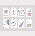 bundle of winter holiday label or tag templates vector image