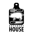 butchery house logotype with pig outline and vector image vector image