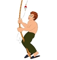 Cartoon man in green pants with fishing rod vector image vector image