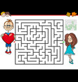 cartoon maze game with boy in love and girl vector image vector image