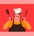 chef holding kitchen tools for grill barbecue vector image vector image