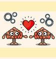 couple brains cartoon love heart vector image