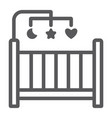 crib line icon home and child cradle sign vector image vector image