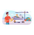 delivery logistics ship parcels loading in port vector image