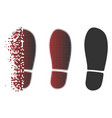 dissolving pixelated halftone boot footprint icon vector image