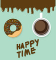 donut top view of happy time vector image