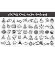 doodle yoga icons set vector image