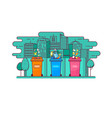 ecologic concept trash sorting into the containers vector image vector image