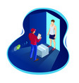 express home delivery courier gives the man a box vector image