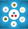 flat icon science set of danger chemical vector image