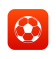 football or soccer ball icon digital red vector image vector image