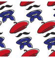 french outfit seamless pattern beret and mustache vector image vector image