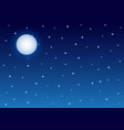 full moon and starry night sky background vector image vector image