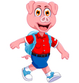 funny pig cartoon going to picnic vector image vector image
