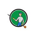 Gardener Hedge Trimmer Circle Cartoon vector image vector image