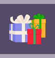 gift boxes different sizes with ribbons vector image vector image