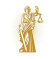 gold silhouette the greek goddess of justice with vector image