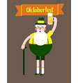 grandfather with a glass of beer folk costumes vector image