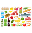 grocery products food shopping vegetables milk vector image vector image