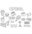 hand drawn cinema set coloring book template vector image