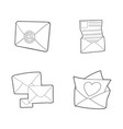 mail icon set outline style vector image vector image