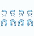 man and woman in medical mask flat line icon set vector image vector image