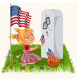 memorial day child on military cemetery little vector image vector image