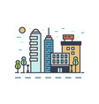 modern cityscape with various buildings linear vector image