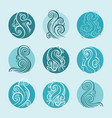 ocean waves set hand drawn vector image