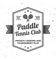 paddle tennis club badge emblem or sign vector image vector image