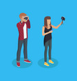photographer woman and man vector image vector image