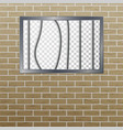 prison window with bars and brick wall vector image