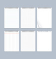 realistic 3d detailed notebook lined spiral set vector image vector image