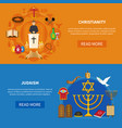 religions banner set vector image vector image