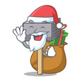 santa with gift meat hammer utensil isolated on vector image vector image
