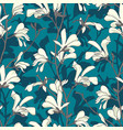 seamless pattern with magnolia tree blossom green vector image