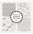 Set of simple seamless patterns with hand drawn vector image