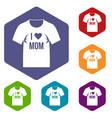 shirt with print icons set hexagon vector image vector image