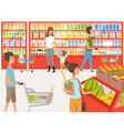 shoppers in supermarket background vector image vector image