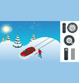 slippery ice winter snow road and cars caution vector image vector image