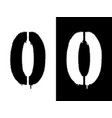 stencil numeral 0 and drip paint black on white vector image vector image