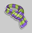 striped scarf sticker vector image