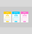 subscription or pricing plan template flat style vector image vector image