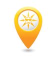 sun symbol yellow map pointer vector image vector image
