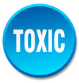 toxic blue round flat isolated push button vector image vector image
