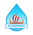 Travel to Scandinavia - Emblem with Drakkar vector image vector image