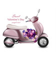 valentines day card with pink scooter and flowers vector image vector image