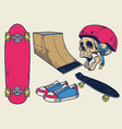 vintage skateboard objects set in hand drawing vector image vector image